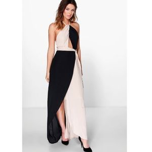 Boohoo night halter chiffon maxi dress